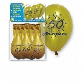 Set 8 Globos Oro 50 Aniversario