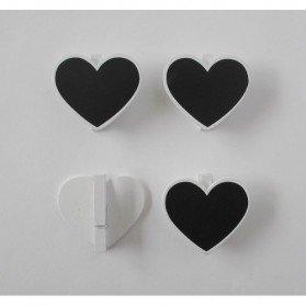 Set 4 Pinzas Pizarra Corazón Madera