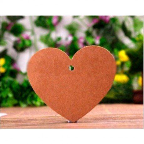Lote 50 Tarjetas Corazón Kraft (Incluye Cuerda)